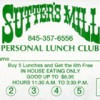 Lunch Club Card Sutter's Mill Suffern Specials